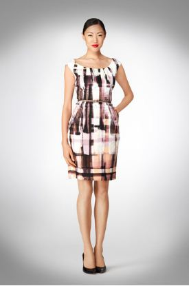 Maggie London Plaid Print Cotton Sheath